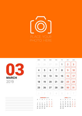 Wall calendar planner template for March 2019. Week starts on Monday. Vector illustration Illustration