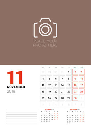 Wall calendar planner template for November 2019. Week starts on Monday. Vector illustration Illustration