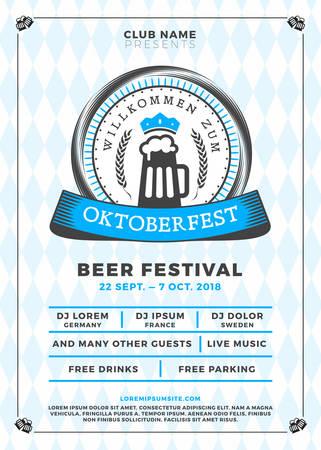 Oktoberfest beer festival celebration. Typography poster or flyer template for beer party. Vector illustration Иллюстрация