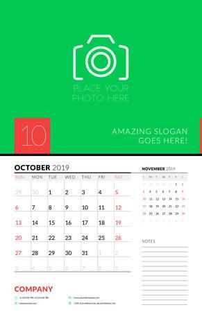 Wall calendar planner template for October 2019. Week starts on Sunday. Vector illustration