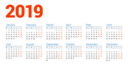 Calendar for 2019 year on white background. Week starts on Monday. 6 columns, 2 rows. Simple calendar vector design element for your poster, flyer, planner, card. Stationery design template