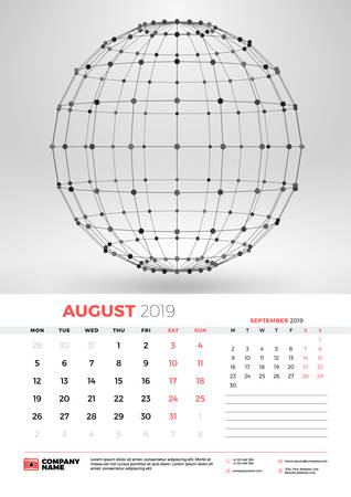 Wall calendar template for August 2019 with abstract geometric background. Week starts on Monday. Vector illustration
