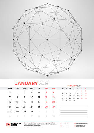 Wall Calendar Template For January 2019 With Abstract Geometric