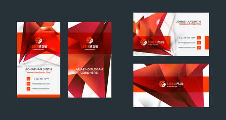 Plantilla de tarjeta de visita creativa de doble cara. Orientación vertical y horizontal. Disposición horizontal y vertical. Tema de color rojo y negro. Ilustración vectorial Ilustración de vector