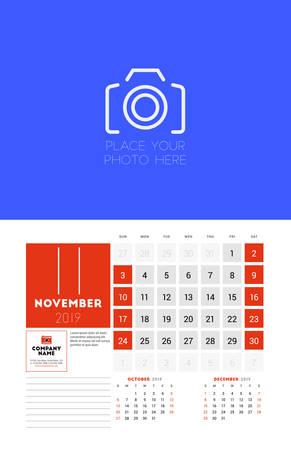 Wall calendar planner template for November 2019. Week starts on Sunday. Vector illustration