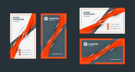 Doppelseitige kreative Visitenkartenvorlage. Hoch- und Querformat. Horizontales und vertikales Layout. Rotes und schwarzes Farbthema. Vektor-Illustration