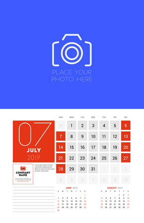 Wall calendar planner template for July 2019. Week starts on Sunday. Vector illustration