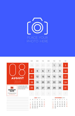 Wall calendar planner template for August 2019. Week starts on Sunday. Vector illustration