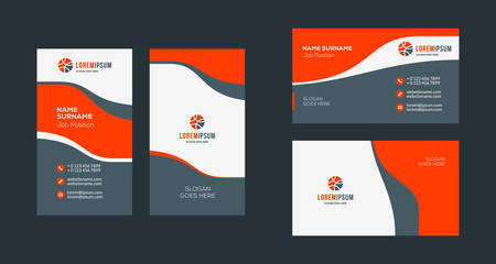 Double-sided creative business card template. Portrait and landscape orientation. Horizontal and vertical layout. Red and black color theme. Vector illustration