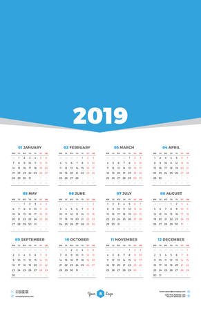 Calendar Design Template for 2019 Year. Week starts on Monday. Stationery Design. Vector Calendar Poster with Place for Photo