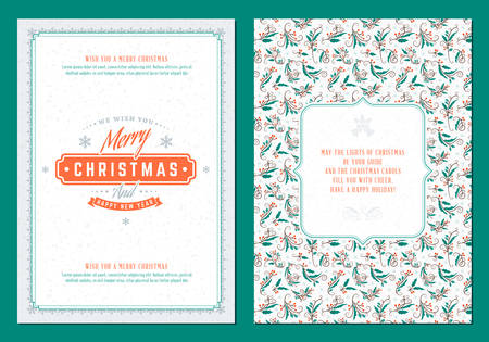 Merry Christmas greeting card template. Typographic retro design. Vector Illustration