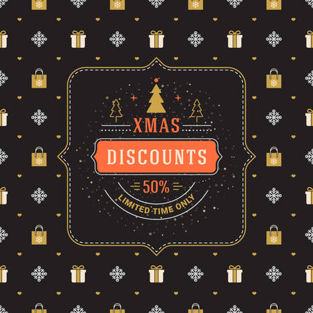 Christmas sale poster design. Holiday shopping. Discount offer. Vintage badge with winter background Иллюстрация