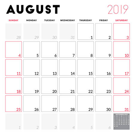 Calendar planner for August 2019. Week starts on Sunday. Printable vector stationery design template