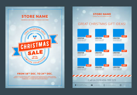 Christmas sale catalog design. Business flyer template. Vintage badge with winter background