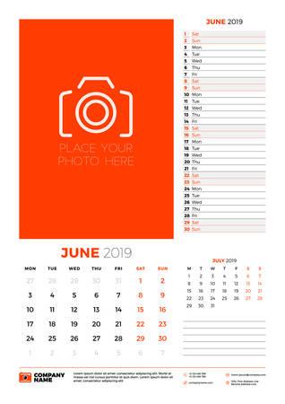 Wall calendar planner template for June 2019. Week starts on Monday. Vector illustration