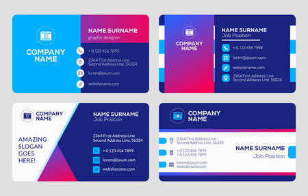 Set of business card templates. Vector illustration. Stationery design