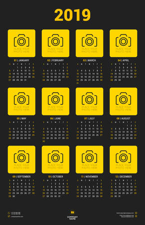 Calendar poster template for 2019 year. Week starts on Sunday. Stationery design. Vector calendar with place for photo on dark background 矢量图像