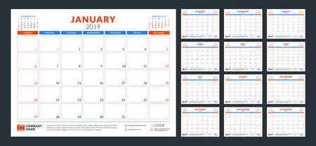 Calendar planner for 2019 year. Week starts on Sunday. Set of 12 months. Printable vector stationery design template