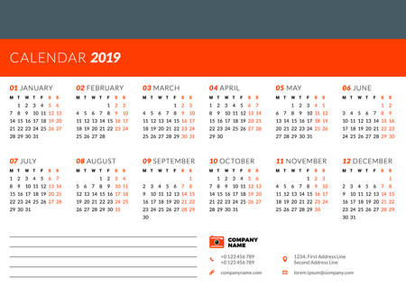 Calendar design template for 2019 year. Week starts on Monday. Stationery design