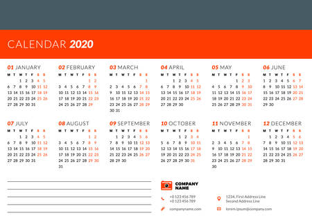 Calendar design template for 2020 year. Week starts on Monday. Stationery design