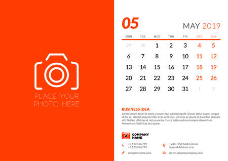 May 2019. Desk calendar design template with place for photo. Week starts on Monday. Vector illustration