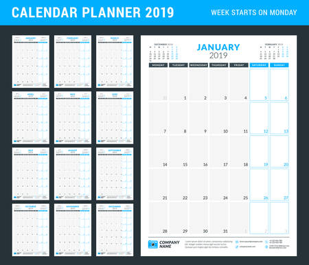Calendar planner for 2019 year. Stationery design template. Portrait orientation. Week starts on Monday