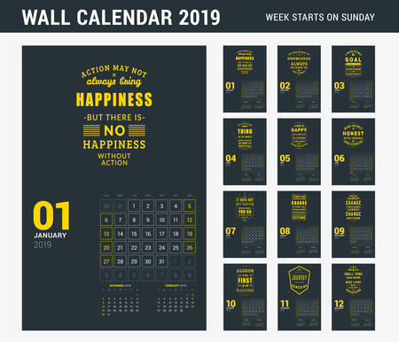 Wall calendar template for 2019 year. Set of 12 pages. Vector design print template with typographic motivational quote. Week starts on Sunday Ilustrace