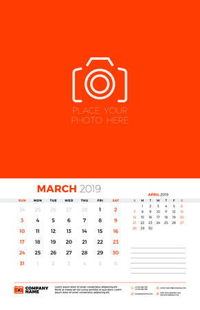 Wall calendar template for March 2019. Week starts on Sunday. Vector illustration Ilustração