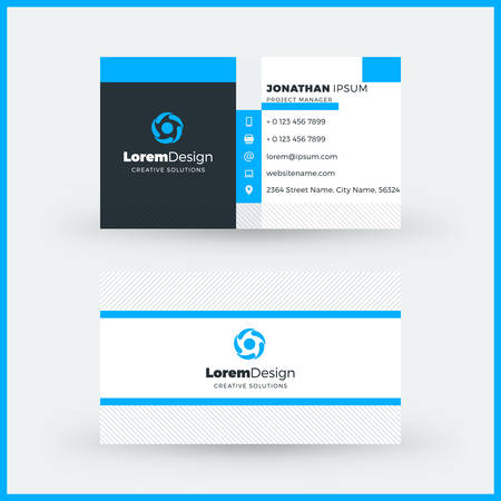 Double Sided Horizontal Business Card Template Vector Mockup