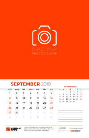 Wall calendar template for September 2019. Week starts on Sunday. Vector illustration Ilustração