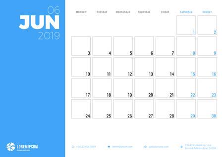 Calendar planner for June 2019. Week starts on Monday. Printable vector stationery design template Ilustração