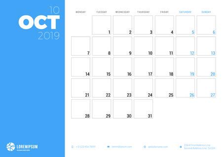 Calendar planner for October 2019. Week starts on Monday. Printable vector stationery design template Ilustração