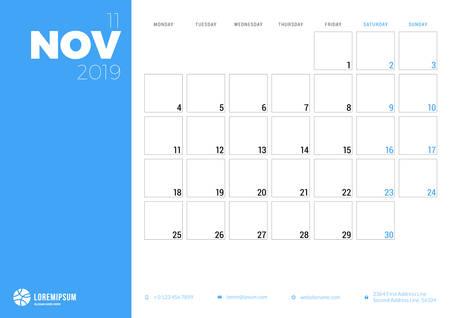 Calendar planner for November 2019. Week starts on Monday. Printable vector stationery design template