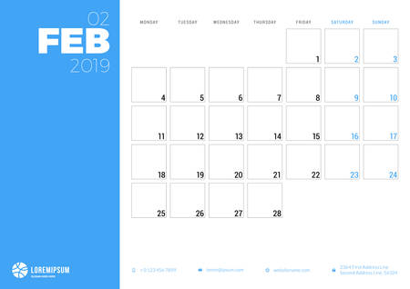 Calendar planner for February 2019. Week starts on Monday. Printable vector stationery design template