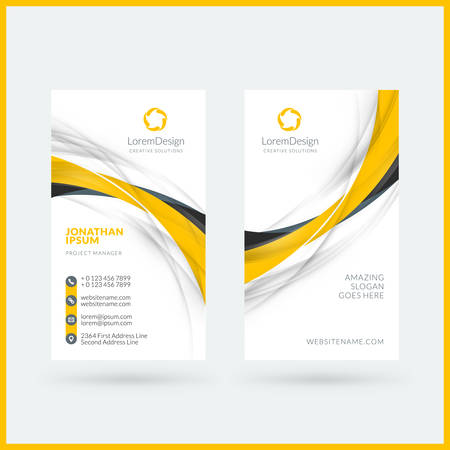 Plantilla de tarjeta de visita vertical de doble cara. Ilustración de vector. Diseño de papeleria Ilustración de vector