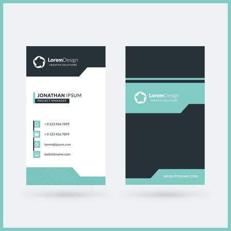 Modèle de carte de visite recto-verso verticale. Illustration vectorielle. Conception de papeterie Vecteurs