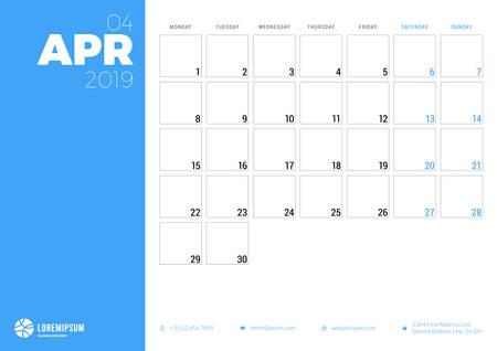 Calendar planner for April 2019. Week starts on Monday. Printable vector stationery design template