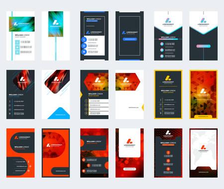 Conjunto de 10 plantillas de tarjetas de visita de doble cara. Diseño de papeleria. Ilustración vectorial