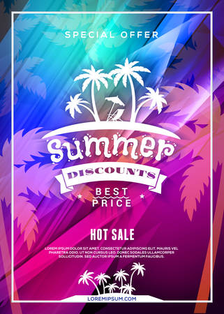 Summer sale flyer or poster. Summer discount label. Typography retro style design element. Vector template with colorful abstract background Illustration