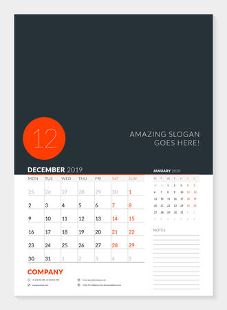 Wall calendar planner template for 2019 year. 2 months on the page. December, January. Week starts on Monday. Vector illustration
