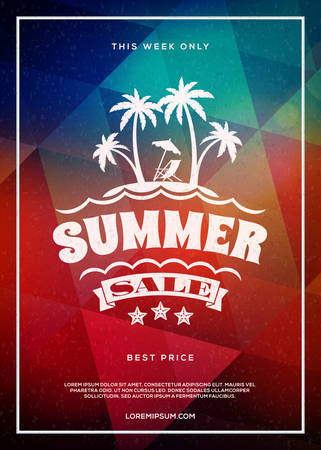 Summer sale flyer or poster. Summer discount label. Typography retro style design element. Vector template with colorful abstract background Ilustrace