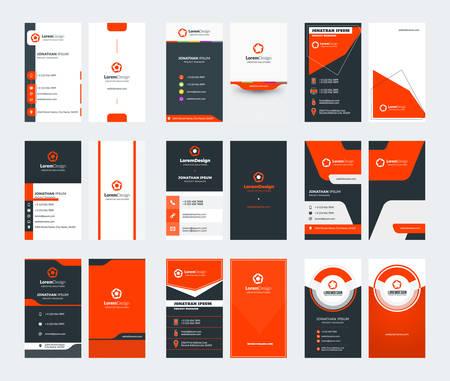 Set mit 9 doppelseitigen vertikalen Visitenkartenvorlagen. Rotes Farbthema. Briefpapier-Design. Vektor-Illustration