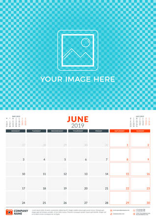 Wall calendar planner template for 2019 year. June 2019. Week starts on Monday. Vector illustration  イラスト・ベクター素材