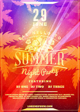 Summer night party flyer or poster. Vector design template with colorful abstract background Vektorové ilustrace