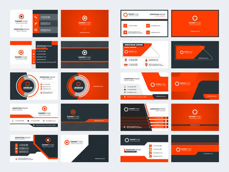 Set of 10 double sided business card templates. Red color theme. Stationery design. Vector illustration