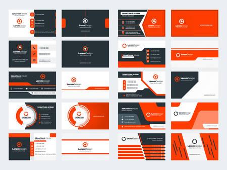 Set di 10 modelli di biglietti da visita fronte-retro. Tema di colore rosso. Progettazione di cancelleria. Illustrazione vettoriale