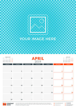 Wall calendar planner template for 2019 year. April 2019. Week starts on Monday. Vector illustration