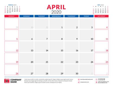 April 2020. Calendar planner stationery design template. Vector illustration. Week starts on Sunday