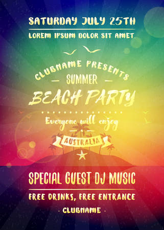 Summer night party flyer or poster. Vector design template with colorful abstract background. Dance club event layout template