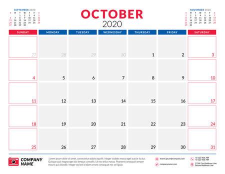October 2020. Calendar planner stationery design template. Vector illustration. Week starts on Sunday Illustration